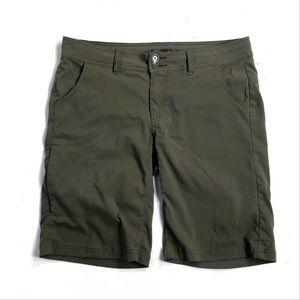 Prana 12 Bermuda shorts olive green khaki hiking